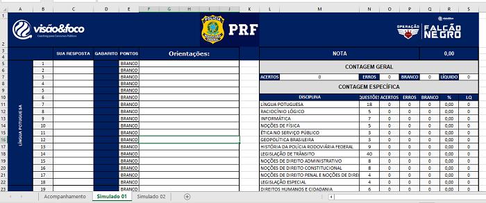 Planilha de Rendimentos - Simulados PRF