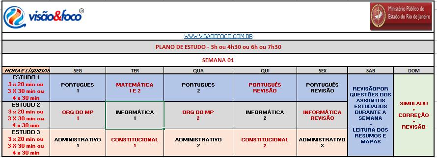 Arte Concurso MP RJ Plano de Estudos